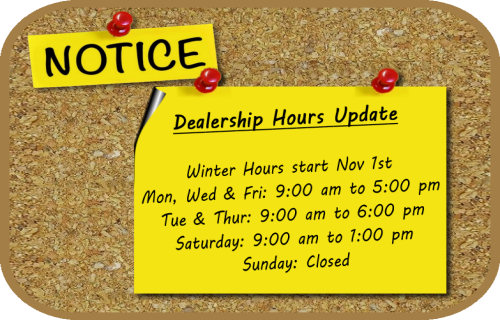 NOTICE... New Hours for Winter!